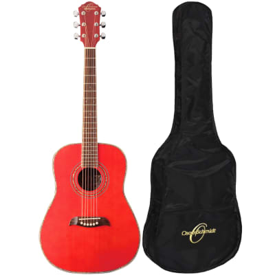 Oscar Schmidt OGHSTR 1/2 Size Acoustic Guitar Kit with Gig Bag, Trans Red