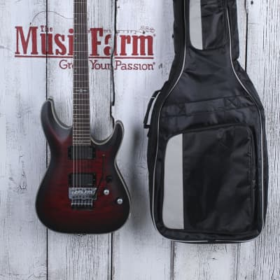 Schecter 2014 C-1 FR Platinum Electric Guitar Crimson Red Burst Satin w Gig Bag