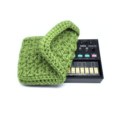 Jasmine stitch crochet dust cover for Korg Volca series modules - Avocado