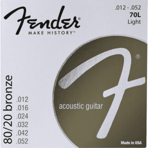 Fender 70L 80/20 Bronze Light Acoustic Strings .012-.052 for sale