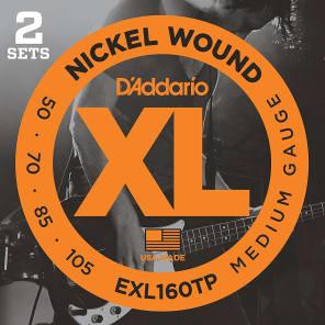 D'Addario EXL160TP Nickel Wound Bass Guitar Strings Medium 50-105 2 Sets Long Scale