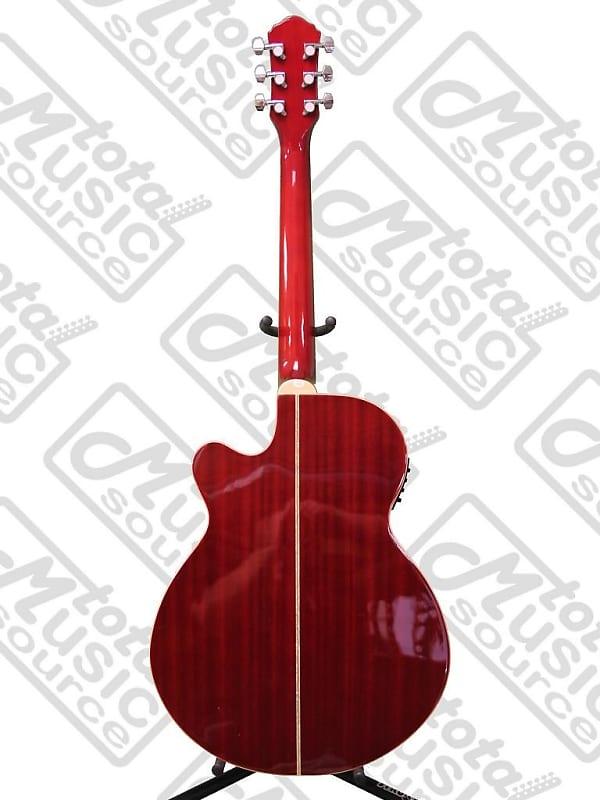 Oscar Schmidt OG10CEFTR Flame Trans Red A//E Guitar with Clip-on Tuner Bundle