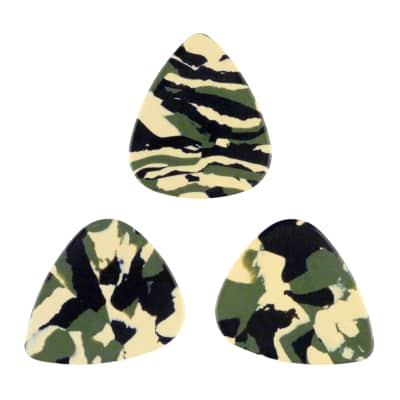 Celluloid Woodland Camo Guitar Or Bass Pick - 0.96 mm Heavy Gauge - 351 Shape - 3 Pack New