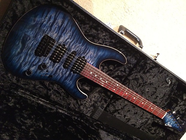 Suhr John Suhr Custom Modern Set Neck In Dark Trans Blue Reverb