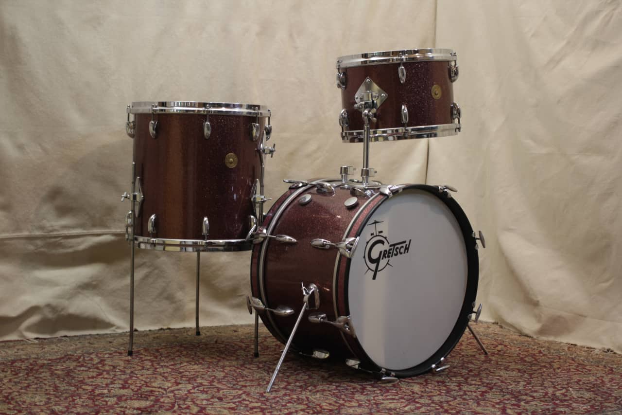 1960 S Gretsch Progressive Jazz In Burgundy Sparkle 12x18