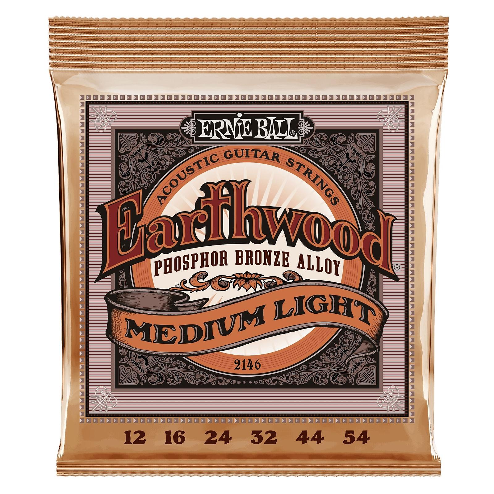 Ernie Ball Earthwood Medium Light Phosphor Bronze Acoustic Guitar Strings - 12-