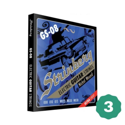 New Strinberg GS-08 Ultra Light Nickel Wound Electric Guitar Strings (3-PACK)
