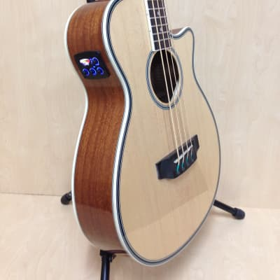 3/4 Size Haze FB-711BCEQ/N 4-String Electric-Acoustic Bass Guitar Natural + Free Gig Bag for sale