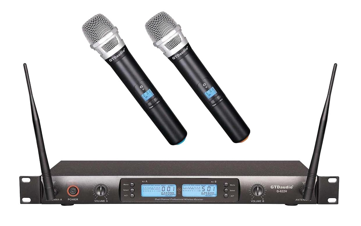 gtd audio 2x100 channel uhf professional dual handheld reverb. Black Bedroom Furniture Sets. Home Design Ideas