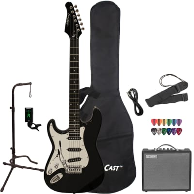 Sawtooth Left-Handed ES Series Electric Guitar with Gig Bag, 10 Watt Amp & Accessories, Black with Black Pickguard for sale