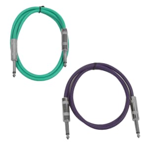 "Seismic Audio SASTSX-2-GREENPURPLE 1/4"" TS Male to 1/4"" TS Male Patch Cables - 2' (2-Pack)"