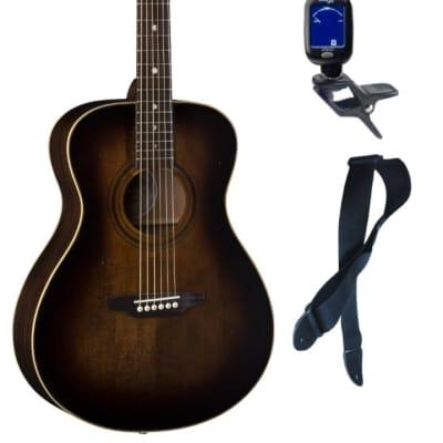 Luna ART V FOLK Art Vintage Folk Solid Top Distressed Acoustic Guitar, Bundle
