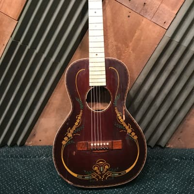 Vintage 1920s Stromberg Voisinet USA (Early Kay) Floral Pattern Acoustic Parlor Guitar-PROJECT for sale