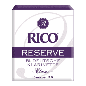 Rico RCR1020D Reserve Classic German Bb Clarinet Reeds - Strength 2.0 (10-Pack)