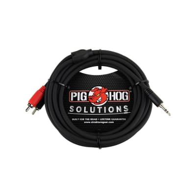Pig Hog PB-S3R10 10' 3.5mm to Dual RCA Male Stereo Breakout Cable,