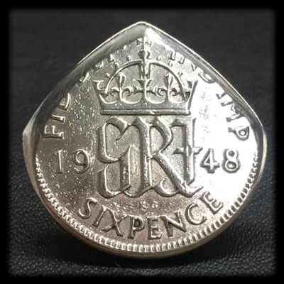 (Two) Brian May Inspired 1948 King George Sixpence Coin Guitar Picks.