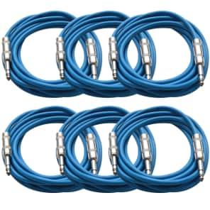 """Seismic Audio SATRX-10BLUE6 1/4"""" TRS Patch Cables - 10' (6-Pack)"""