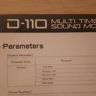 Roland D-110  Multi Timbral Sound Module Tone Parameters & PCM Sounds Table