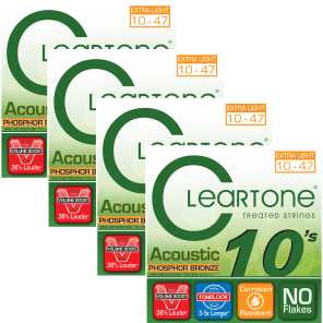 (4) Cleartone Acoustic Guitar Strings Phosphor Bronze Extra Light Coated 10-47