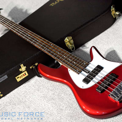 Fodera Emperor 5 Standard Classic - CandyAppleRed w/White PG Indian Rosewood FB & Matching Headstock for sale