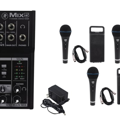 Mackie Mix5 Compact 5-Channel PA Mixer+(3) Microphones+(3) XLR Cables