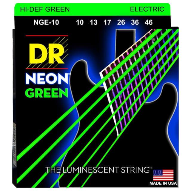 DR Strings NGE-10 Neon Green Electric Guitar Strings (10-46) image