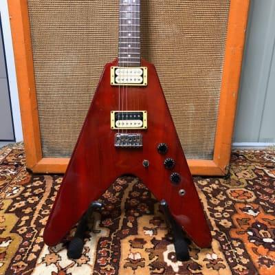 Vintage 1981 Hamer Vector Flying V Cherry Red & Rosewood USA Electric Guitar for sale