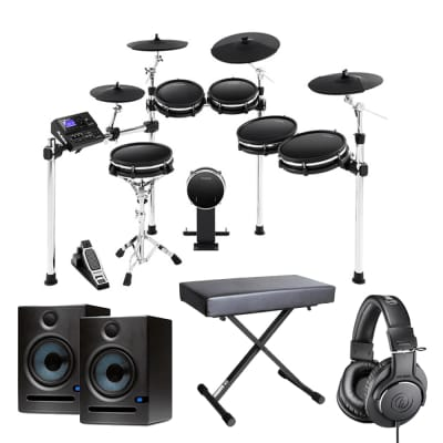 Alesis DM10 MKII Pro Kit Premium Ten-Piece Electronic Drum Kit with Mesh Heads + Presonus Eris E5 Pair - Pair of High-Definition 2-way 5.25 inch Near Field Studio Monitors + Audio-Technica ATH-M20x Monitor Headphones (Black) + Bench.