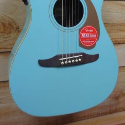 New Fender® Malibu Player Walnut Fingerboard Acoustic Electric Guitar Aqua Splash