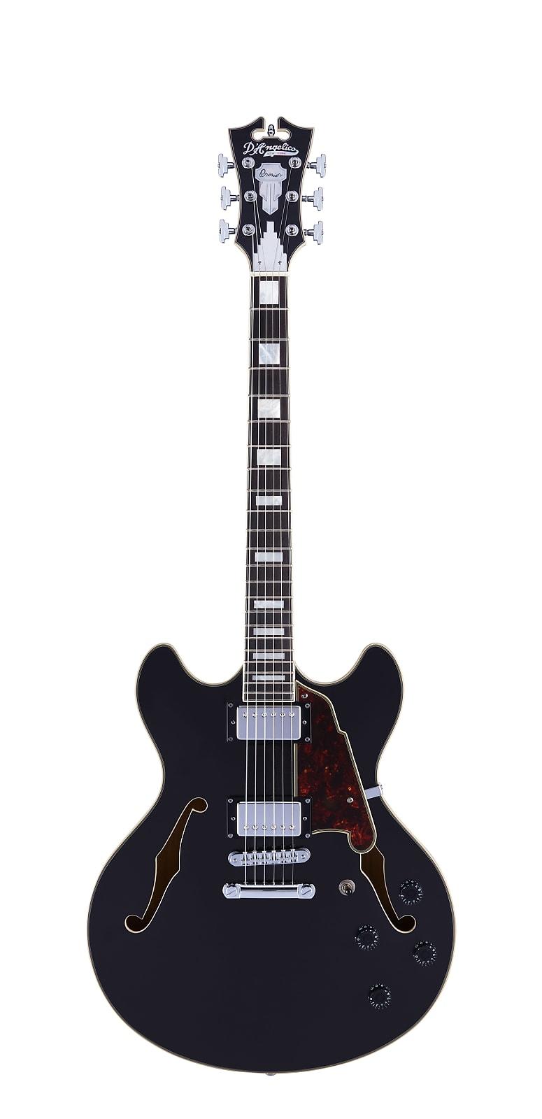 D'Angelico Premier DC Semi-Hollow Electric Guitar Black Flake w/ Gig Bag