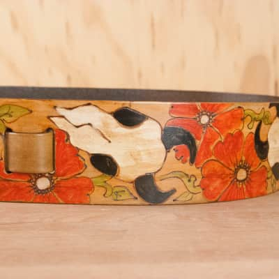 Leather Guitar Strap - Handmade with Cow Skulls and Roses by Moxie & Oliver - Nelly Pattern