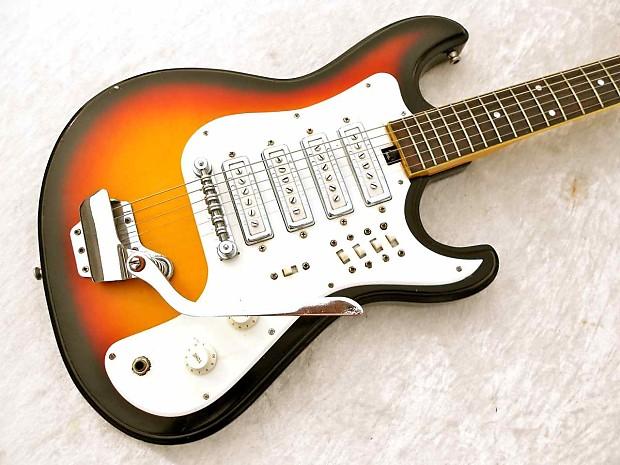 Teisco Guitar 4 Pickup Original Vintage 6070 Sunburst Reverb