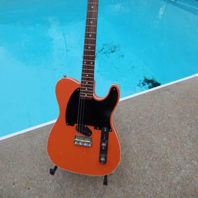 MJT Esquire Custom 2020 Faded Fiesta Red Relic Fender White Tolex Case for sale