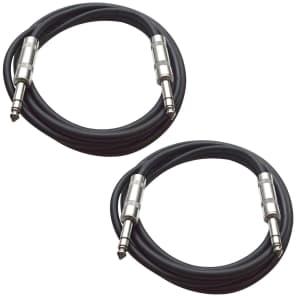 """Seismic Audio SATRX-2-BLACKBLACK 1/4"""" TRS Patch Cables - 2' (2-Pack)"""