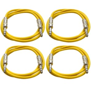 "Seismic Audio SATRX-2-4YELLOW 1/4"" TRS Patch Cables - 2' (4-Pack)"