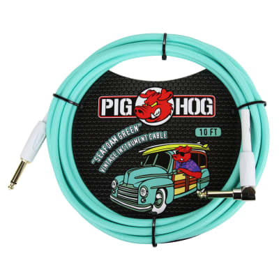 """Pig Hog """"Seafoam Green"""" Vintage Instrument Cable - 10 FT Right Angle (PCH10SGR)"""