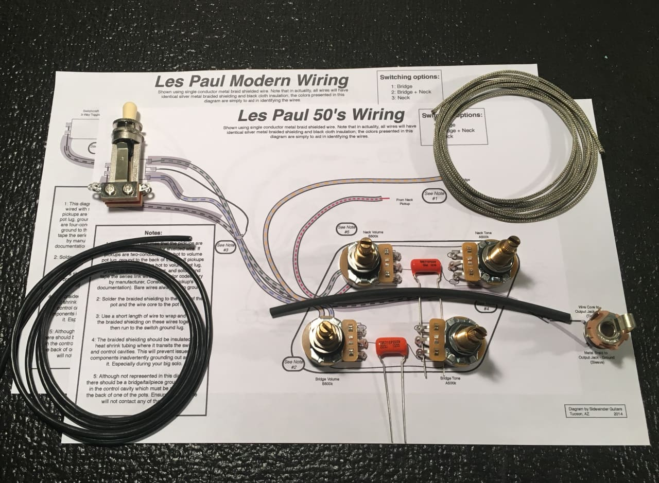 Sidewinder Guitars Les Paul Wiring Kit (Long Frame Toggle / | Reverb