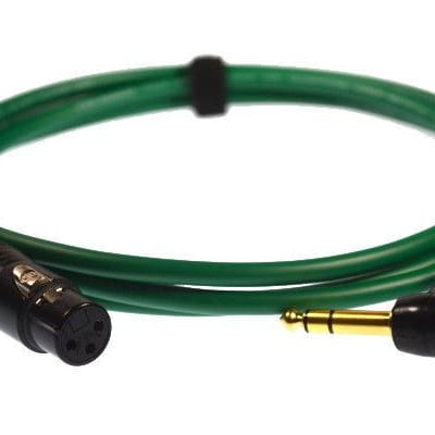 "Professional 3-Pin XLR Female to TRS ¼"" Stereo Right Angle Jack Van Damme Cable[3m,green]"