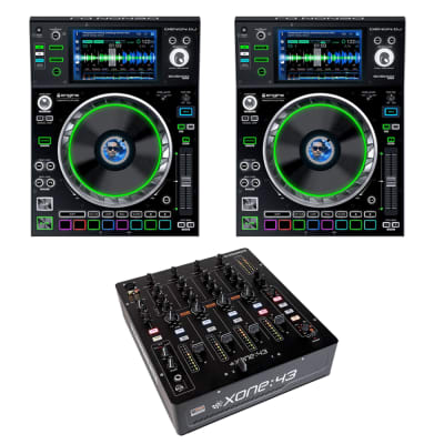 "(2) Denon DJ SC5000M Prime DJ Media Player with Motorized Platter & 7"" Multi-Touch Display + Allen & Heath XONE:43 - 4+1 Channel Analog DJ Mixer"