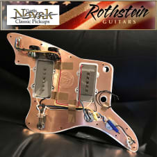 Curtis Novak JM180 / JMV Pickups w/ Rothstein Jazzmaster Wiring - White Pickguard Copper Shield