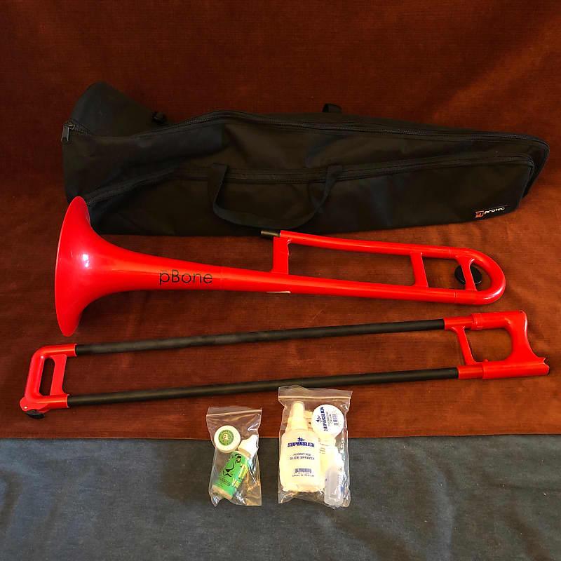 Jiggs pBone Plastic Trombone Red w/ Gig Bag