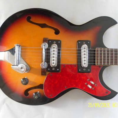 Audition  electric hollow slim line guitar, model 7004 , year1970, tri colour with vintage hard case for sale