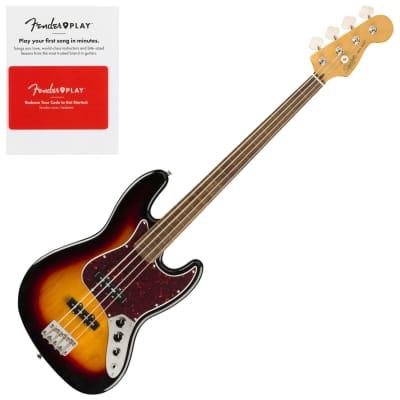 Squier 0374531500 Classic Vibe 60s Jazz Bass Fretless, Laurel Fingerboard, 3 Color Sunburst w/ Fender Play Prepaid Card