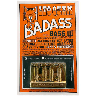 Leo Quan Badass Bass III Bridge 4 String Grooved Saddles Gold for sale