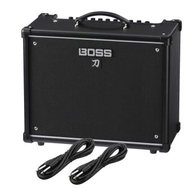 BOSS Katana-50 – 50W 1×12 Combo Amplifier, (2) 1/4 Cables Bundle
