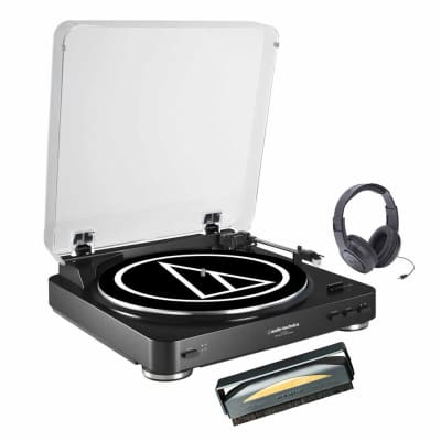 Audio Technica AT-LP60BK Fully Automatic Belt-Drive Stereo Turntable w/  Headphone and Cleaner Brush