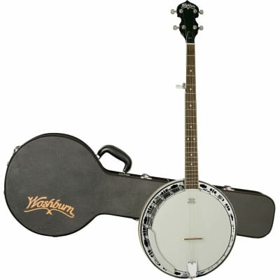 Washburn B11K Americana Series 5-String Resonator Banjo with Rolled Brass Tone Ring & Hardshell Case for sale
