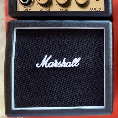Marshall MS-2 1-Watt Battery-Powered Black Micro Guitar Amp, Black Finish