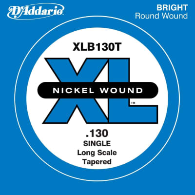 D'Addario XLB130T Nickel Wound Long Scale Single Bass Guitar String, .130, Tapered