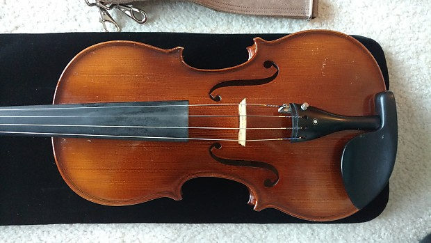Modern german cello by franz sandner, the two piece back 76cm long.